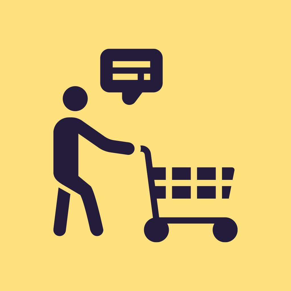 shopping assistant food delivery app icon
